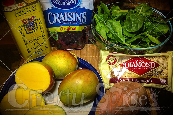 Spinach Mango Sweet Potato Salad - Ingredients