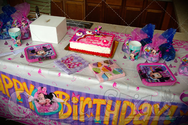 Minnie Mouse Theme Party - Birthday Cake and goodies