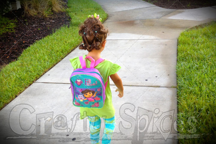 On her way to School for the first time