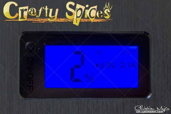 Intocircuit® 11200mAh Power Castle close up of LCD disply