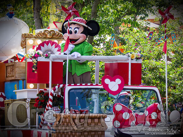 Minnie Mouse at one of the parades at Animal Kingdom