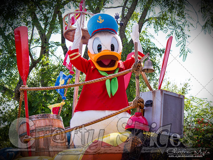 Donald Duck at one of the parades at Animal Kingdom