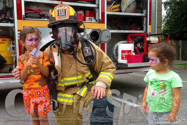 Kira & Kaylee with FireFighter