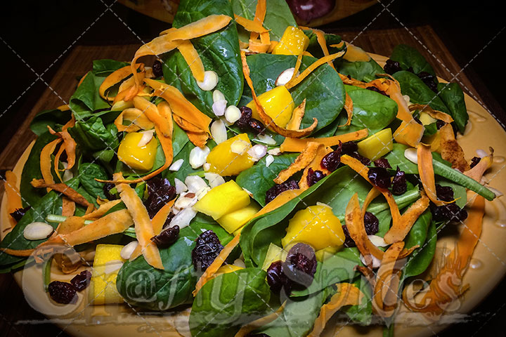 Spinach Mango Sweet Potato Salad - Serving plate