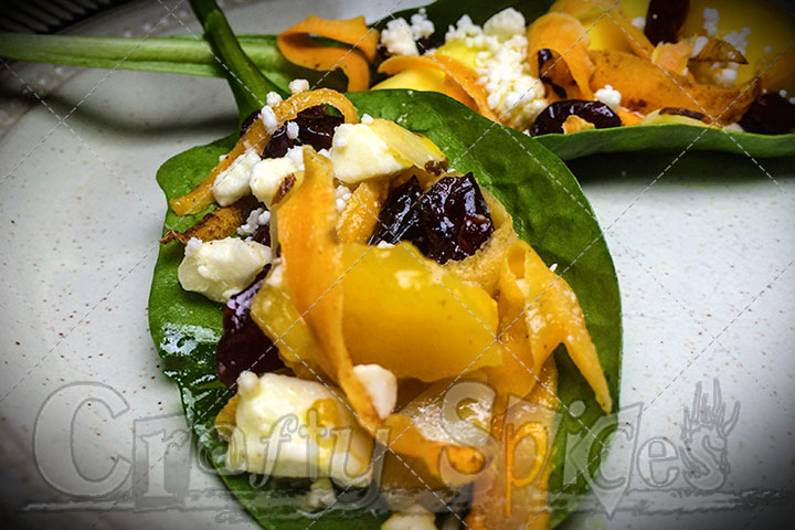 Spinach Mango Sweet Potato Salad - Serving leaves