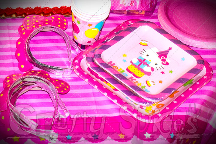 Hello Kitty plates, tiaras and cups